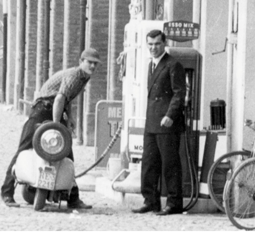 Angelo Lombardini in front of the ESSO petrol station